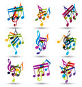 Bright expressive jolly musical notes and symbols on wh