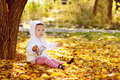 Bright fall for baby girl Royalty Free Stock Photos