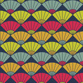Bright fan pattern. Based on Traditional Japanese Embroidery. Abstract Seamless pattern.