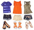 Bright female summer clothes collage. Teenager wear set. Royalty Free Stock Photo