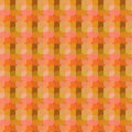 Bright figures on orange background. Seamless vector pattern with squares