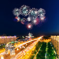 Bright fireworks explosions in night sky above victory park moscow russia Stock Images