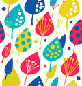 Bright floral background colorful seamless pattern with decorative leafs fabric texture Stock Images