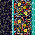 Bright floral border with Spanish motifs.