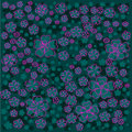 Bright floral pattern with pink lined and greecolored flowers on green background