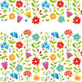 Bright floral seamless border with butterfly dragonfly and hearts on white background endless texture can be used for wallpaper Stock Photography