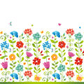 Bright floral seamless border with butterfly dragonfly and hearts on white background endless texture can be used for wallpaper Royalty Free Stock Image
