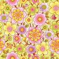 Bright floral seamless pattern with butterfly. Royalty Free Stock Photo