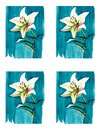 Bright floral seamless pattern of white lilies on blue background watercolor Royalty Free Stock Photo