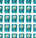 Bright floral seamless pattern of white lilies on blue background watercolor hand sketch Royalty Free Stock Photo