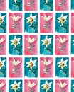 Bright floral seamless pattern of white lilies on blue and pink backgrounds watercolor Royalty Free Stock Photo