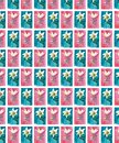 Bright floral seamless pattern of white lilies on blue and pink backgrounds watercolor hand sketch Royalty Free Stock Photo