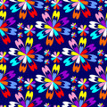 Bright flower seamless Pattern with colorful Flowers on blue. Royalty Free Stock Photo