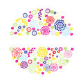 Bright flowers round frame summer Stock Photography