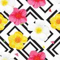 Bright Flowers Seamless Pattern with Geometric Ornament. Black Stripes. Vector Illustration Royalty Free Stock Photo