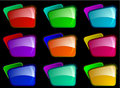 Bright folders with different color combinations Stock Photo