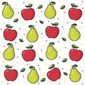 Bright fruit: pear, apple. Fruit print on white background. Ripe red apple with leaf. Ripe pear with a leaf. Vector pattern back