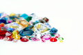 Bright gems isolated on white background close up Stock Images