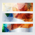 Bright geometric horizontal banners elegant with red green and blue transparent triangles Royalty Free Stock Photos