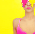 Bright girl exclusive colorful glasses Royalty Free Stock Images