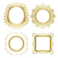 Bright gold ornamental vector frames with transparent shadow