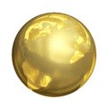 Bright Golden Globe in 3D Royalty Free Stock Photo