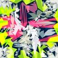 Bright graffiti geometric seamless pattern grunge effect Royalty Free Stock Photo
