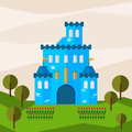 Bright graphic illustration with cartoon blue colored castle for use in design for card, invitation, bunner, poster or placard