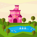 Bright graphic illustration with cartoon pink colored castle for use in design