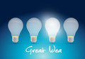 Bright great ideas illustration design over a blue background Royalty Free Stock Images