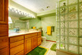 Bright green bathroom Royalty Free Stock Photo