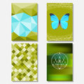 Bright green and blue colored set with geometric butterfly and polygonal background for use in design for card poster banner Royalty Free Stock Image