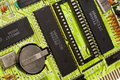 Bright green circuit board Stock Images