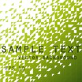 Bright, green pattern of triangles and squares with text