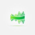 Bright green sound wave music icon Royalty Free Stock Photo