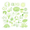 Bright green vector different images of the ecology elements of design Stock Images