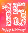 Bright Greeting card Invitation Template. Celebrating 15 years birthday. Decorative Font