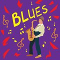 Bright greeting card. Poster of music blues. Saxophonist on violet background. Vector illustration.
