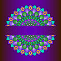 Bright hand-drawing ornamental abstract lace round with many details on deep purple background