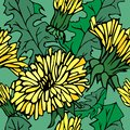 Bright hand-drawn pattern with yellow flowers and leaves