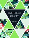 Bright hawaiian design with tropical plants and hibiscus flowers Royalty Free Stock Photo