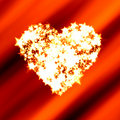 Bright heart of shining stars on red Valentine Royalty Free Stock Photos