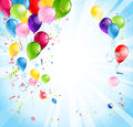 Bright holiday with balloons background and flags Royalty Free Stock Images