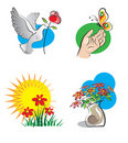 Bright icons with flowers Stock Images