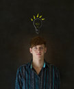 Bright idea chalk background lightbulb thinking business man Royalty Free Stock Photo
