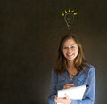 Bright idea chalk background lightbulb thinking business woman Stock Photos