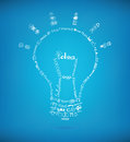Bright idea concept vector light bulb created by many hand drawn business sketch and doodles design elements on blue background Stock Images