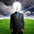 Bright idea guy man with a lightbulb for a head Royalty Free Stock Photography