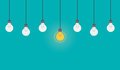 Bright idea and insight concept with light bulb. Flat style illustration.