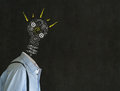 Bright idea man with chalk lightbulb head headless business teacher engineer or student background cogs and gears Royalty Free Stock Photography